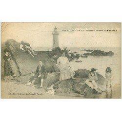 carte postale ancienne 44 SAINT-NAZAIRE. Rochers et Phare de Ville-es-Martin 1917