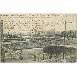 carte postale ancienne 44 SAINT-NAZAIRE. Travaux Entrée du Port. Pont Roulant 1906