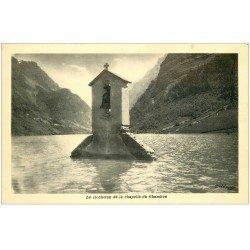 carte postale ancienne 38 CHAMBON. Clocheton de la Chapelle sous l'eau