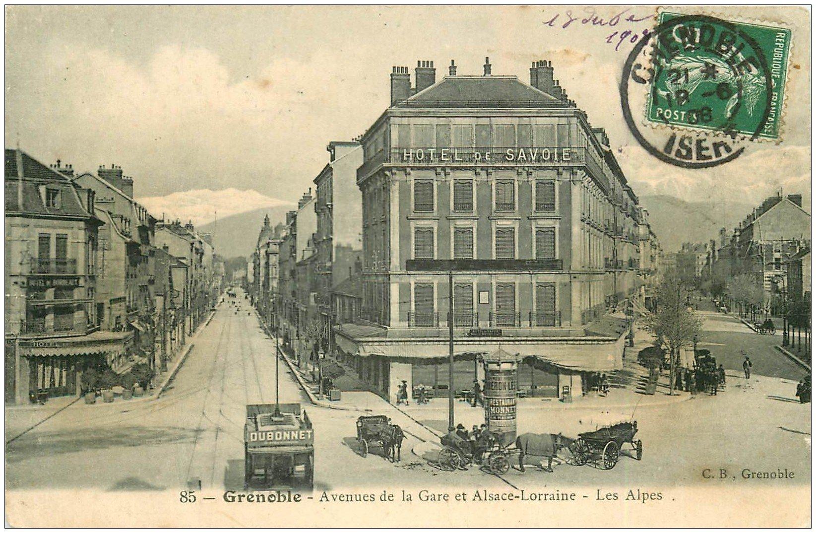 carte postale ancienne 38 GRENOBLE. Avenue de la Gare et Alsace-Lorrainr 1908
