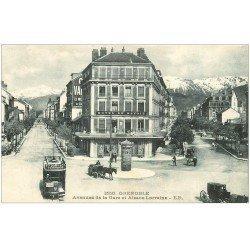 carte postale ancienne 38 GRENOBLE. Avenues Gare et Alsace-Lorraine