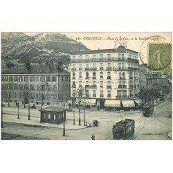 carte postale ancienne 38 GRENOBLE. Bastille Place de la Gare 1921