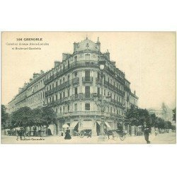 carte postale ancienne 38 GRENOBLE. Carrefour Alsace-Lorraine et Gambetta
