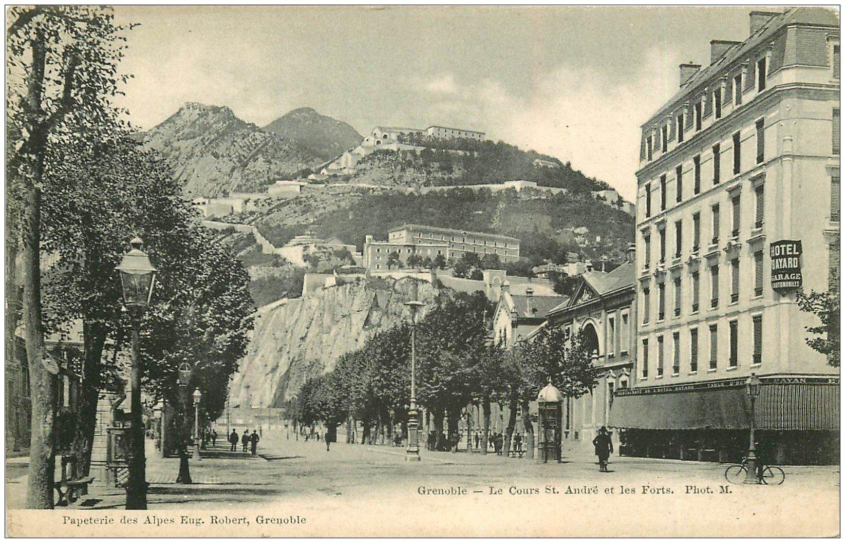 carte postale ancienne 38 GRENOBLE. Forts et Cours Saint-André vers 1900. Ed Papeterie des Alpes