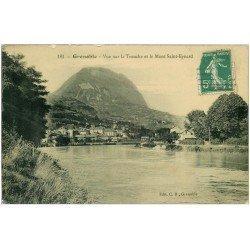 carte postale ancienne 38 GRENOBLE. Le Saint-Eynard et la Tronche 1915. Carte émaillographie