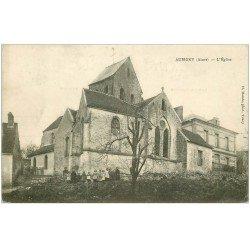 carte postale ancienne 02 AUBIGNY. Enfants devant l'Eglise