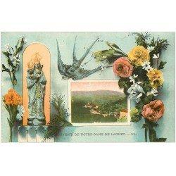 carte postale ancienne 06 NOTRE-DAME DE LAGHET. Souvenir Hirondelle et Fleurs
