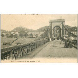 carte postale ancienne 38 VIENNE. Pont suspendu 1912