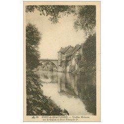 carte postale ancienne Rare 38 PONT-DE-BEAUVOISIN. Maisons et Pont François 1°