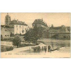 carte postale ancienne 39 DOLE. Ecluse, Barrage et Ecole Jeanne d'Arc. Pêcheurs à la ligne