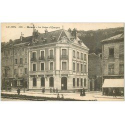 carte postale ancienne 39 MOREZ. La Caisse d'Epargne 1930 Café National