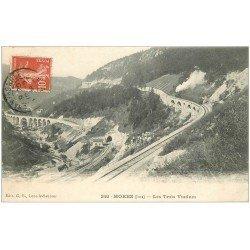 carte postale ancienne 39 MOREZ. Ouvriers sur les Trois Viaducs 1908 et Train