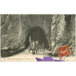 carte postale ancienne 39 SAINT-CLAUDE. A la Faucille attelage 1916