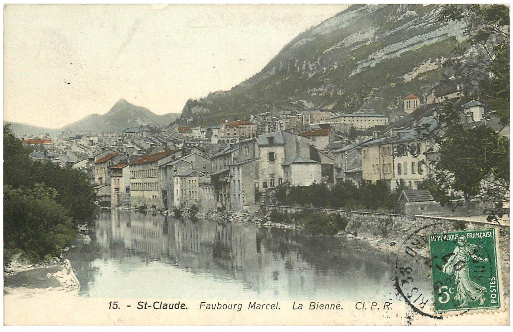 carte postale ancienne 39 SAINT-CLAUDE. Faubourg Marcel 1907