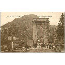 carte postale ancienne 39 SAINT-CLAUDE. Le Pont suspendu animé 1925
