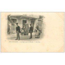 carte postale ancienne 73 AIX-LES-BAINS. Chaises à Porteurs le Départ pour la Douche vers 1900