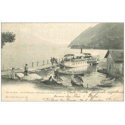 carte postale ancienne 73 AIX-LES-BAINS. Débarcadère Haute Combe 1902 Lac du Bourget