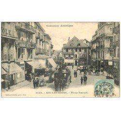 carte postale ancienne 73 AIX-LES-BAINS. Diligence à Impériale Place Carnot 1906