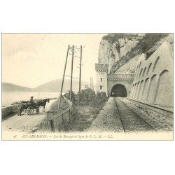 carte postale ancienne 73 AIX-LES-BAINS. Fiacre et ligne P.L.M Lac du Bourget