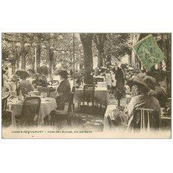 carte postale ancienne 73 AIX-LES-BAINS. Jardin Restaurant Hôtel de l'Europe 1920. Edition Berger