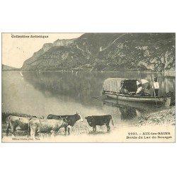carte postale ancienne 73 AIX-LES-BAINS. Lac du Bourget Ballade en Barque et Vaches 1907
