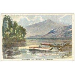 carte postale ancienne 73 AIX-LES-BAINS. Lac du Bourget et Dent du Chat par Sauvage 1918