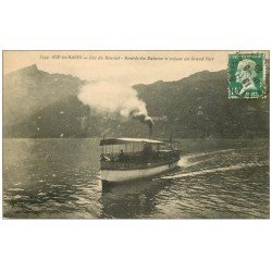 carte postale ancienne 73 AIX-LES-BAINS. Le Bateau à Vapeur Ville d'Aix au Grand Port 1925