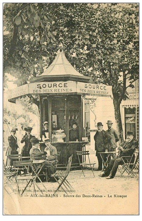 carte postale ancienne 73 AIX-LES-BAINS. Le Kiosque Source des Deux-Reines 1913 en l'état...