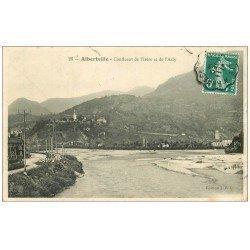 carte postale ancienne 73 ALBERTVILLE. Confluent Isère et Arly 1909