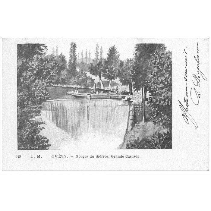 73 gresy sur aix grande cascade 1902 rare d 39 apr s un dessin. Black Bedroom Furniture Sets. Home Design Ideas