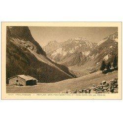 carte postale ancienne 73 PRALOGNAN. Refuge Fontanettes Rochers Pêche