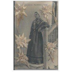 carte postale ancienne 73 PRALOGNAN-LA-VANOISE. Costume de Savoie 1913 avec véritables Fleurs Edelweiss