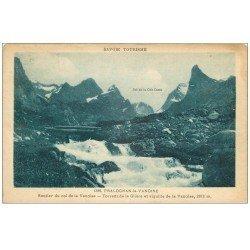 carte postale ancienne 73 PRALOGNAN-LA-VANOISE. Sentier du Col et Torrent de la Glière 1932