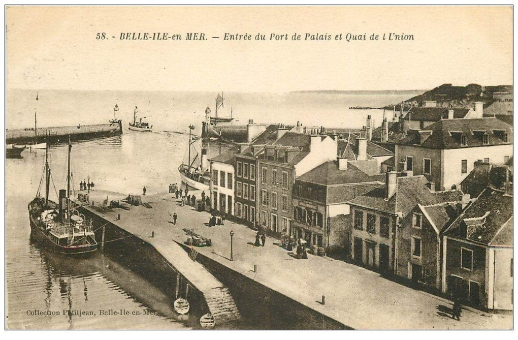 carte postale ancienne 56 BELLE-ILE-EN-MER. Port de Palais de l'Union 1925