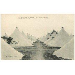 carte postale ancienne 56 CAMP DE COËTQUIDAN. Une ligne de Tentes 1916
