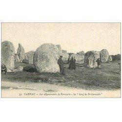 carte postale ancienne 56 CARNAC. Alignement de Kermario. Le Boeuf de St-Corneille. Dolmens et Menhirs
