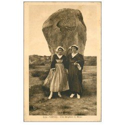 carte postale ancienne 56 CARNAC. Géant du Ménec 1922. Dolmens et Menhirs