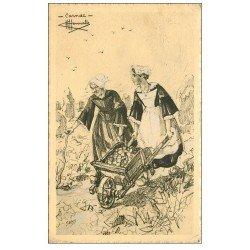 carte postale ancienne 56 CARNAC. Paysannes, brouette et Patates. Dessin d'Homualk 1946