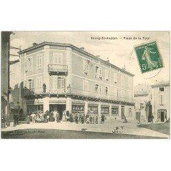 carte postale ancienne 07 BOURG-SAINT-ANDEOL. Place de la Tour 1911. Bazar