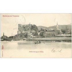 carte postale ancienne 07 CHATEAUBOURG-SUR-RHÔNE. Passeurs en barque 1903