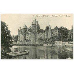 carte postale ancienne 56 JOSSELIN. Château façade et barque