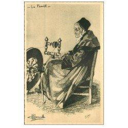 carte postale ancienne 56 LE FAOUET. La Fileuse au rouet d'après Homualk. Carte bords dentelés à la ficelle