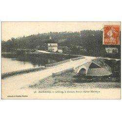 carte postale ancienne 56 PLOERMEL. Etang, Pont et Usine Electrique 1916