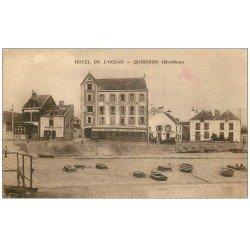 carte postale ancienne 56 QUIBERON. Hôtel de l'Océan et Buvette du Port