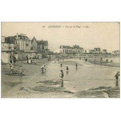 carte postale ancienne 56 QUIBERON. La Plage animée 1922
