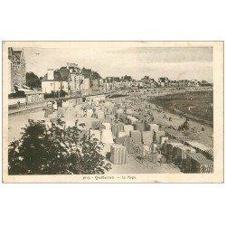 carte postale ancienne 56 QUIBERON. Les Cabines en toile de la Plage