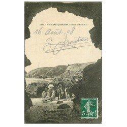 carte postale ancienne 56 SAINT-PIERRE-QUIBERON. Grotte de Port-Bara 1908 superbe animation