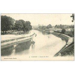 carte postale ancienne 56 VANNES. Embarcation Entrée du Port. tampon Militaire 1915