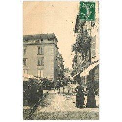 carte postale ancienne 40 DAX. Place Cathédrale Rue Saint-Vincent 1909. Magasin SINGER Machines à Coudre à gauche