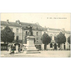 carte postale ancienne 40 DAX. Place et Statue de Borda